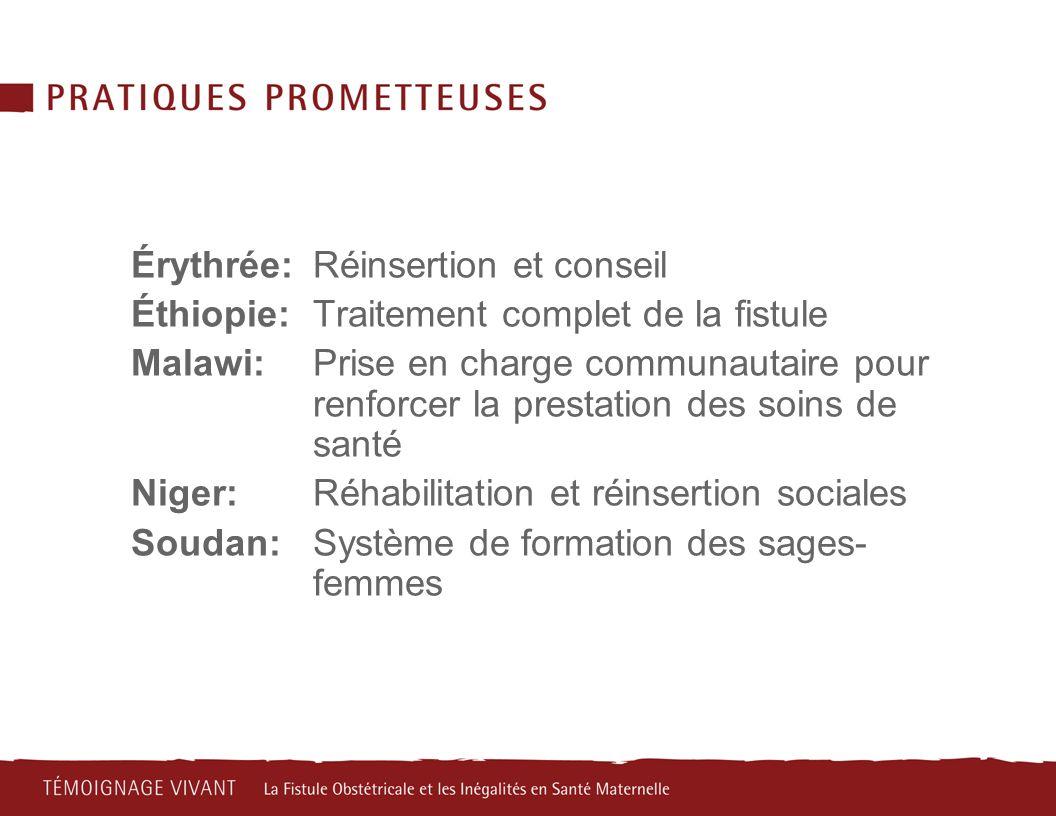 Érythrée:Réinsertion et conseil Éthiopie: Traitement complet de la fistule Malawi:Prise en charge communautaire pour renforcer la prestation des soins