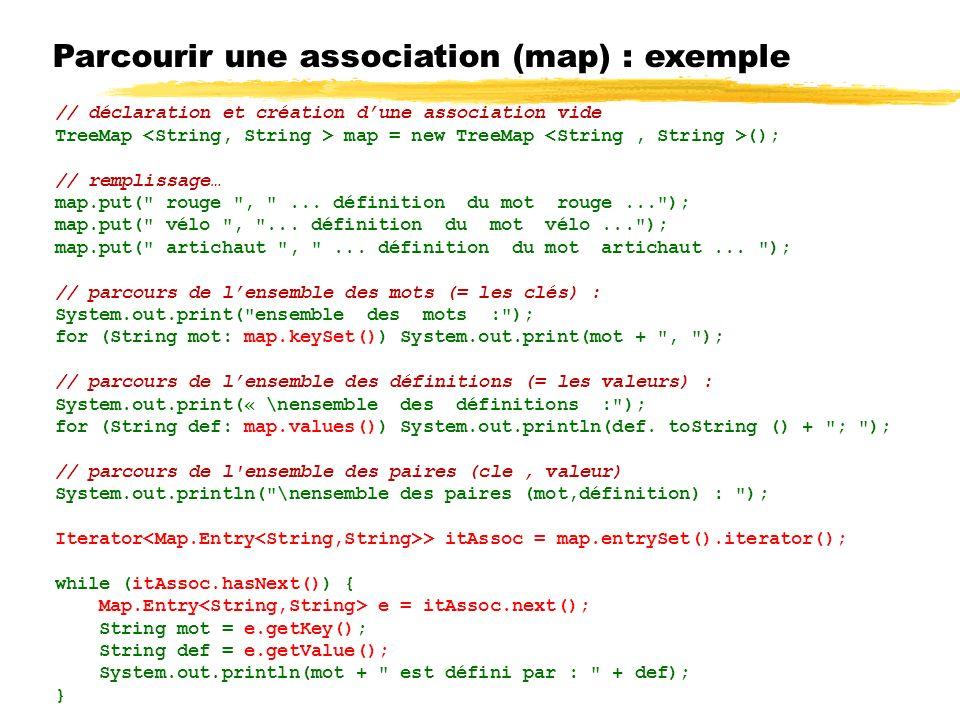 Parcourir une association (map) : exemple // déclaration et création dune association vide TreeMap map = new TreeMap (); // remplissage… map.put( rouge , ...