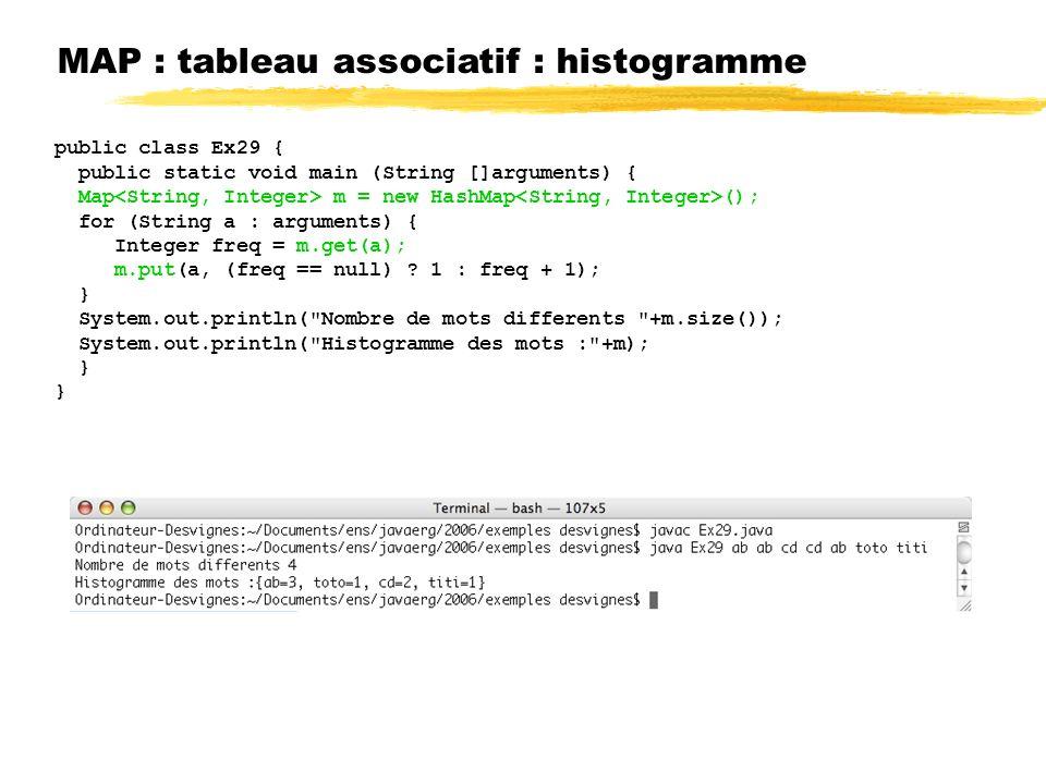 MAP : tableau associatif : histogramme public class Ex29 { public static void main (String []arguments) { Map m = new HashMap (); for (String a : arguments) { Integer freq = m.get(a); m.put(a, (freq == null) .