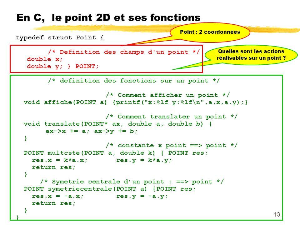 En C, le point 2D et ses fonctions typedef struct Point { /* Definition des champs d un point */ double x; double y; } POINT; /* definition des fonctions sur un point */ /* Comment afficher un point */ void affiche(POINT a) {printf( x:%lf y:%lf\n ,a.x,a.y);} /* Comment translater un point */ void translate(POINT* ax, double a, double b) { ax->x += a; ax->y += b; } /* constante x point ==> point */ POINT multcste(POINT a, double k) { POINT res; res.x = k*a.x; res.y = k*a.y; return res; } /* Symetrie centrale dun point : ==> point */ POINT symetriecentrale(POINT a) {POINT res; res.x = -a.x; res.y = -a.y; return res; } Point : 2 coordonnées Quelles sont les actions réalisables sur un point .