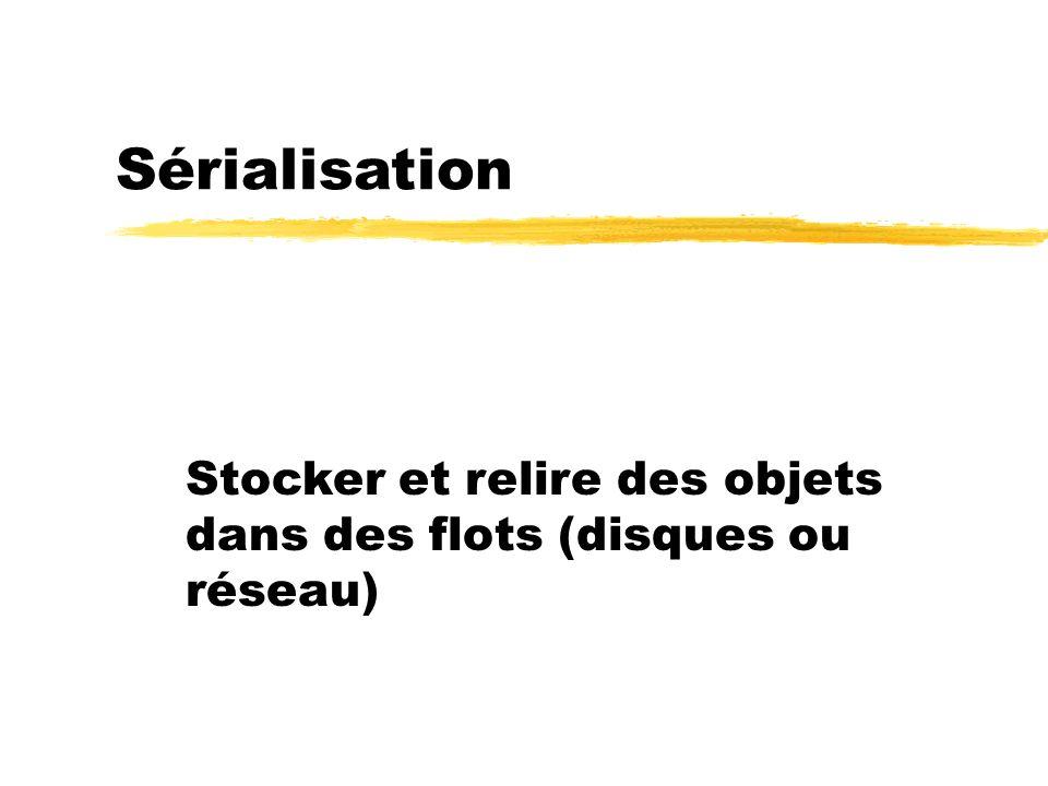 Sérialisation Stocker et relire des objets dans des flots (disques ou réseau)