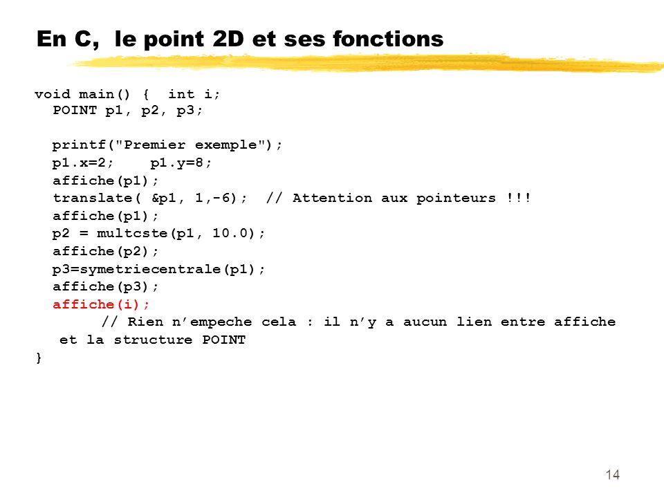 En C, le point 2D et ses fonctions void main() { int i; POINT p1, p2, p3; printf( Premier exemple ); p1.x=2; p1.y=8; affiche(p1); translate( &p1, 1,-6); // Attention aux pointeurs !!.