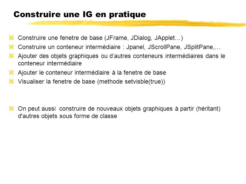 Construire une IG en pratique Construire une fenetre de base (JFrame, JDialog, JApplet…) Construire un conteneur intermédiaire : Jpanel, JScrollPane, JSplitPane,… Ajouter des objets graphiques ou dautres conteneurs intermédiaires dans le conteneur intermédiaire Ajouter le conteneur intermédiaire à la fenetre de base Visualiser la fenetre de base (methode setvisble(true)) On peut aussi construire de nouveaux objets graphiques à partir (héritant) d autres objets sous forme de classe