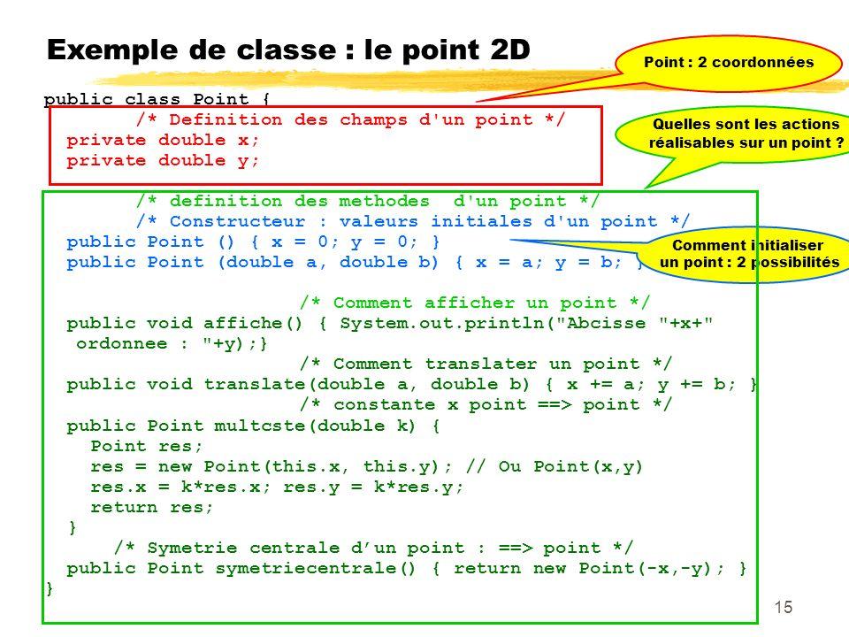 Exemple de classe : le point 2D public class Point { /* Definition des champs d un point */ private double x; private double y; /* definition des methodes d un point */ /* Constructeur : valeurs initiales d un point */ public Point () { x = 0; y = 0; } public Point (double a, double b) { x = a; y = b; } /* Comment afficher un point */ public void affiche() { System.out.println( Abcisse +x+ ordonnee : +y);} /* Comment translater un point */ public void translate(double a, double b) { x += a; y += b; } /* constante x point ==> point */ public Point multcste(double k) { Point res; res = new Point(this.x, this.y); // Ou Point(x,y) res.x = k*res.x; res.y = k*res.y; return res; } /* Symetrie centrale dun point : ==> point */ public Point symetriecentrale() { return new Point(-x,-y); } } Point : 2 coordonnées Comment initialiser un point : 2 possibilités Quelles sont les actions réalisables sur un point .