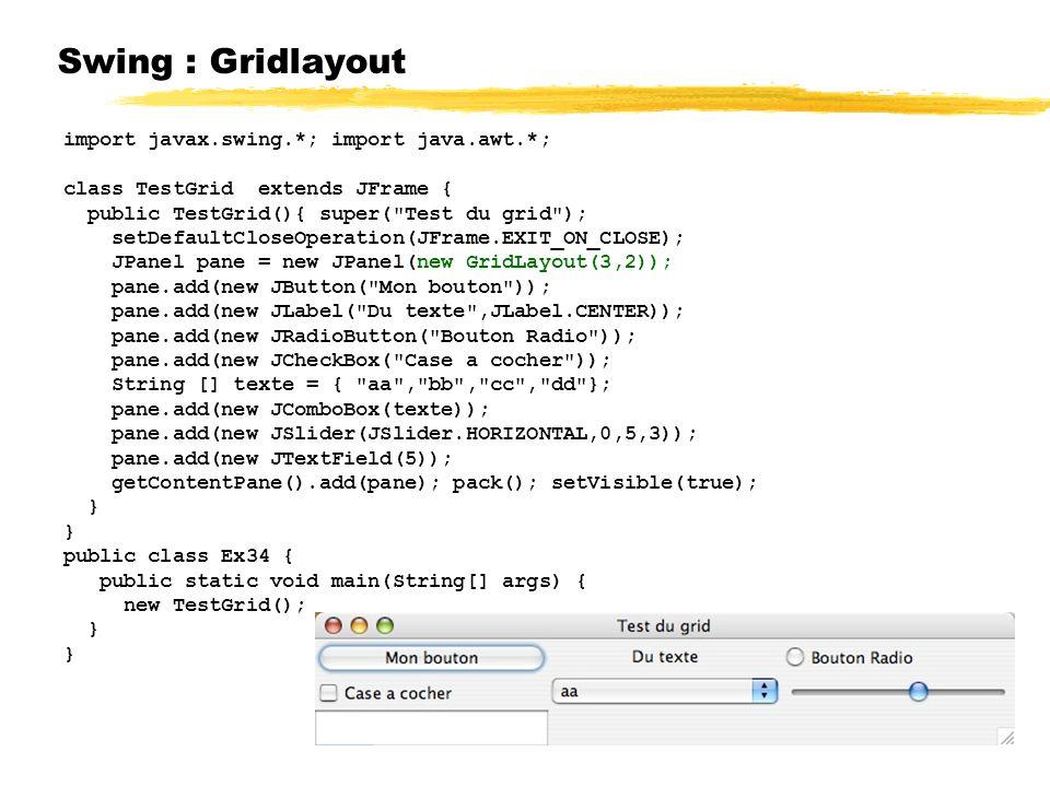 Swing : Gridlayout import javax.swing.*; import java.awt.*; class TestGrid extends JFrame { public TestGrid(){ super( Test du grid ); setDefaultCloseOperation(JFrame.EXIT_ON_CLOSE); JPanel pane = new JPanel(new GridLayout(3,2)); pane.add(new JButton( Mon bouton )); pane.add(new JLabel( Du texte ,JLabel.CENTER)); pane.add(new JRadioButton( Bouton Radio )); pane.add(new JCheckBox( Case a cocher )); String [] texte = { aa , bb , cc , dd }; pane.add(new JComboBox(texte)); pane.add(new JSlider(JSlider.HORIZONTAL,0,5,3)); pane.add(new JTextField(5)); getContentPane().add(pane); pack(); setVisible(true); } public class Ex34 { public static void main(String[] args) { new TestGrid(); }