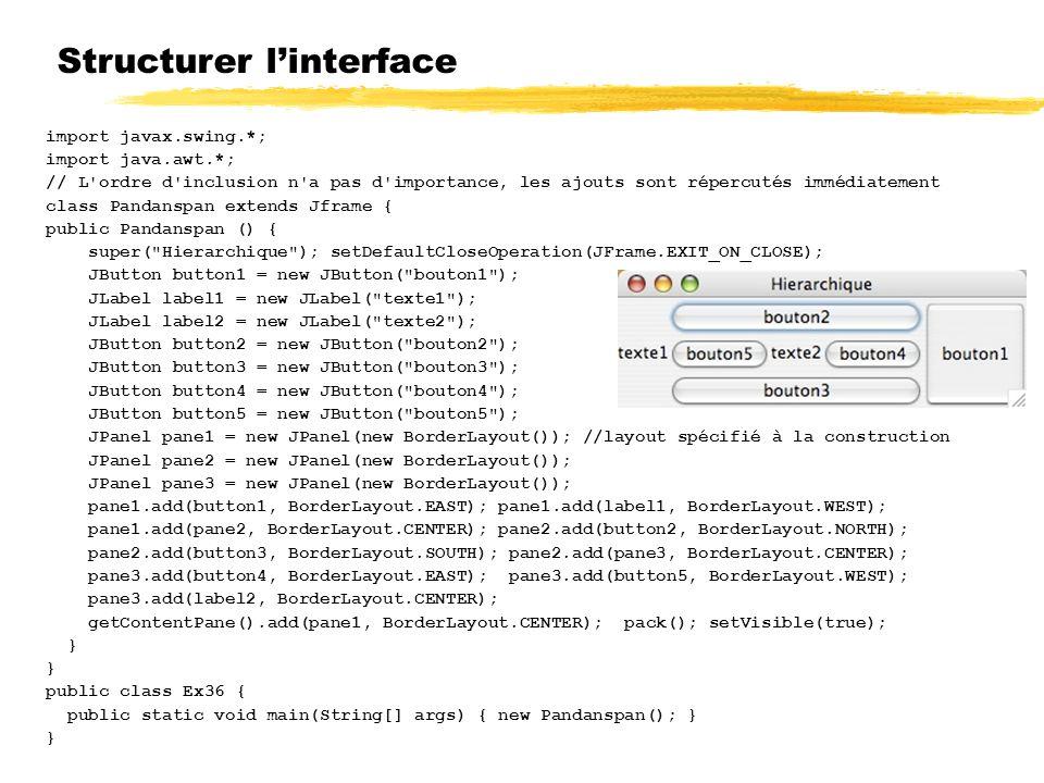 Structurer linterface import javax.swing.*; import java.awt.*; // L ordre d inclusion n a pas d importance, les ajouts sont répercutés immédiatement class Pandanspan extends Jframe { public Pandanspan () { super( Hierarchique ); setDefaultCloseOperation(JFrame.EXIT_ON_CLOSE); JButton button1 = new JButton( bouton1 ); JLabel label1 = new JLabel( texte1 ); JLabel label2 = new JLabel( texte2 ); JButton button2 = new JButton( bouton2 ); JButton button3 = new JButton( bouton3 ); JButton button4 = new JButton( bouton4 ); JButton button5 = new JButton( bouton5 ); JPanel pane1 = new JPanel(new BorderLayout()); //layout spécifié à la construction JPanel pane2 = new JPanel(new BorderLayout()); JPanel pane3 = new JPanel(new BorderLayout()); pane1.add(button1, BorderLayout.EAST); pane1.add(label1, BorderLayout.WEST); pane1.add(pane2, BorderLayout.CENTER); pane2.add(button2, BorderLayout.NORTH); pane2.add(button3, BorderLayout.SOUTH); pane2.add(pane3, BorderLayout.CENTER); pane3.add(button4, BorderLayout.EAST); pane3.add(button5, BorderLayout.WEST); pane3.add(label2, BorderLayout.CENTER); getContentPane().add(pane1, BorderLayout.CENTER); pack(); setVisible(true); } public class Ex36 { public static void main(String[] args) { new Pandanspan(); } }