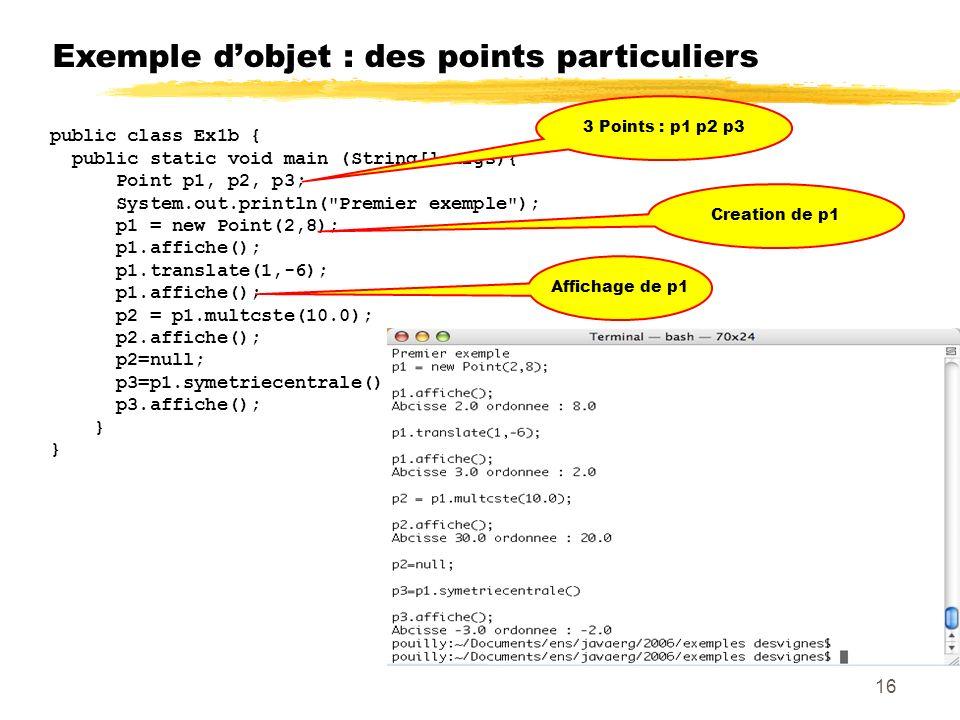 Exemple dobjet : des points particuliers public class Ex1b { public static void main (String[] args){ Point p1, p2, p3; System.out.println( Premier exemple ); p1 = new Point(2,8); p1.affiche(); p1.translate(1,-6); p1.affiche(); p2 = p1.multcste(10.0); p2.affiche(); p2=null; p3=p1.symetriecentrale(); p3.affiche(); } 3 Points : p1 p2 p3 Creation de p1 Affichage de p1 16