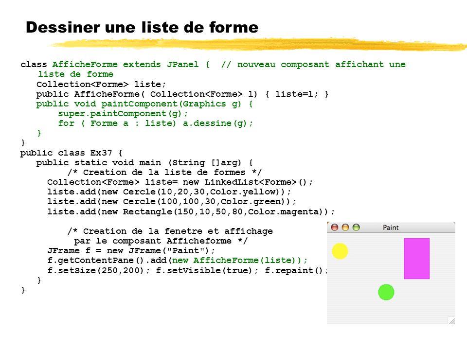 Dessiner une liste de forme class AfficheForme extends JPanel { // nouveau composant affichant une liste de forme Collection liste; public AfficheForme( Collection l) { liste=l; } public void paintComponent(Graphics g) { super.paintComponent(g); for ( Forme a : liste) a.dessine(g); } public class Ex37 { public static void main (String []arg) { /* Creation de la liste de formes */ Collection liste= new LinkedList (); liste.add(new Cercle(10,20,30,Color.yellow)); liste.add(new Cercle(100,100,30,Color.green)); liste.add(new Rectangle(150,10,50,80,Color.magenta)); /* Creation de la fenetre et affichage par le composant Afficheforme */ JFrame f = new JFrame( Paint ); f.getContentPane().add(new AfficheForme(liste)); f.setSize(250,200); f.setVisible(true); f.repaint(); }
