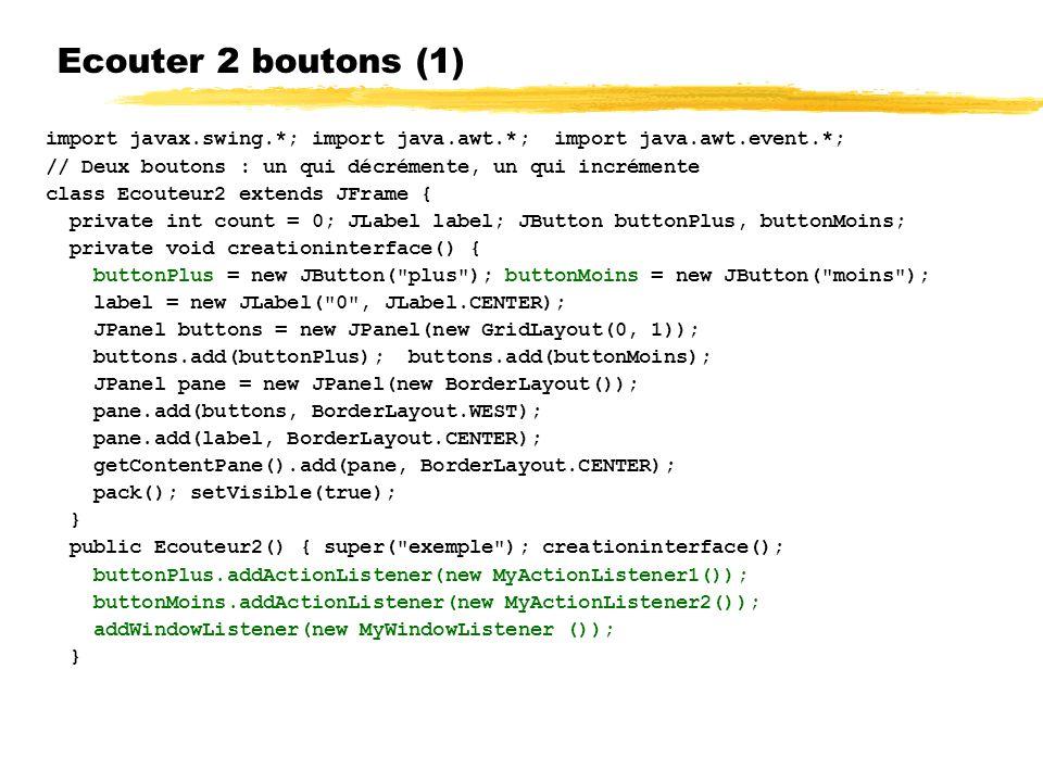 Ecouter 2 boutons (1) import javax.swing.*; import java.awt.*; import java.awt.event.*; // Deux boutons : un qui décrémente, un qui incrémente class Ecouteur2 extends JFrame { private int count = 0; JLabel label; JButton buttonPlus, buttonMoins; private void creationinterface() { buttonPlus = new JButton( plus ); buttonMoins = new JButton( moins ); label = new JLabel( 0 , JLabel.CENTER); JPanel buttons = new JPanel(new GridLayout(0, 1)); buttons.add(buttonPlus); buttons.add(buttonMoins); JPanel pane = new JPanel(new BorderLayout()); pane.add(buttons, BorderLayout.WEST); pane.add(label, BorderLayout.CENTER); getContentPane().add(pane, BorderLayout.CENTER); pack(); setVisible(true); } public Ecouteur2() { super( exemple ); creationinterface(); buttonPlus.addActionListener(new MyActionListener1()); buttonMoins.addActionListener(new MyActionListener2()); addWindowListener(new MyWindowListener ()); }