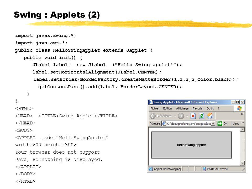 Swing : Applets (2) import javax.swing.*; import java.awt.*; public class HelloSwingApplet extends JApplet { public void init() { JLabel label = new Jlabel ( Hello Swing applet! ); label.setHorizontalAlignment(JLabel.CENTER); label.setBorder(BorderFactory.createMatteBorder(1,1,2,2,Color.black)); getContentPane().add(label, BorderLayout.CENTER); } Swing Applet <APPLET code= HelloSwingApplet width=600 height=300> Your browser does not support Java, so nothing is displayed.