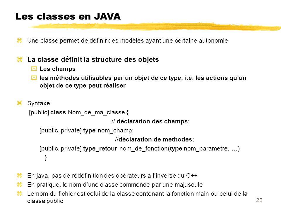 Les classes en JAVA Une classe permet de définir des modèles ayant une certaine autonomie La classe définit la structure des objets Les champs les méthodes utilisables par un objet de ce type, i.e.