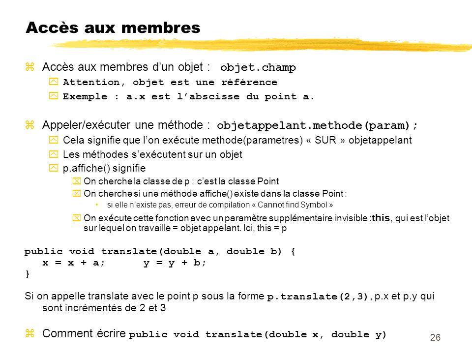 Accès aux membres Accès aux membres dun objet : objet.champ Attention, objet est une référence Exemple : a.x est labscisse du point a.