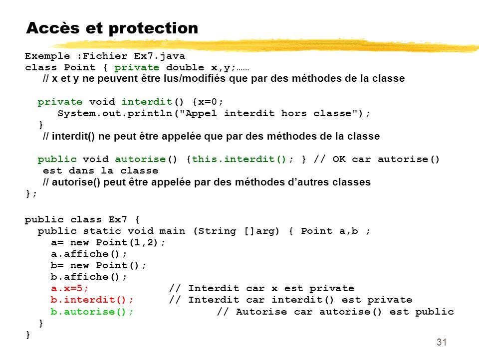 Accès et protection Exemple :Fichier Ex7.java class Point { private double x,y;…… / / x et y ne peuvent être lus/modifiés que par des méthodes de la classe private void interdit() {x=0; System.out.println( Appel interdit hors classe ); } // interdit() ne peut être appelée que par des méthodes de la classe public void autorise() {this.interdit(); } // OK car autorise() est dans la classe // autorise() peut être appelée par des méthodes dautres classes }; public class Ex7 { public static void main (String []arg) { Point a,b ; a= new Point(1,2); a.affiche(); b= new Point(); b.affiche(); a.x=5;// Interdit car x est private b.interdit(); // Interdit car interdit() est private b.autorise(); // Autorise car autorise() est public } 31