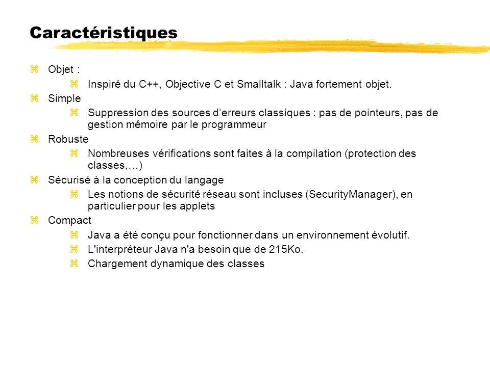 Objet : Inspiré du C++, Objective C et Smalltalk : Java fortement objet.