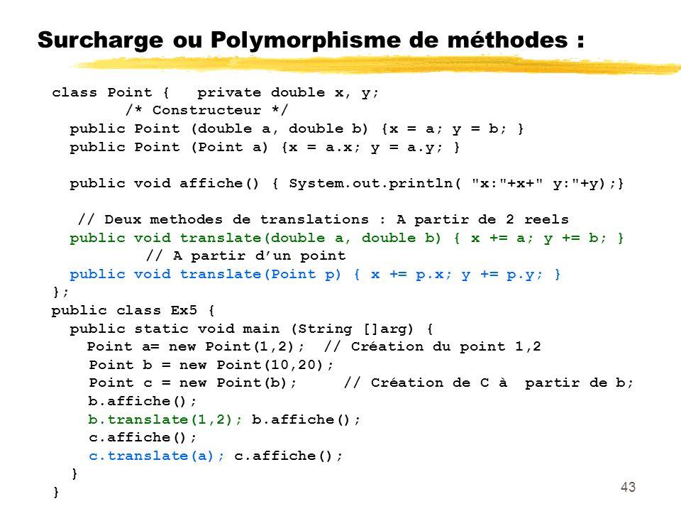 Surcharge ou Polymorphisme de méthodes : class Point { private double x, y; /* Constructeur */ public Point (double a, double b) {x = a; y = b; } public Point (Point a) {x = a.x; y = a.y; } public void affiche() { System.out.println( x: +x+ y: +y);} // Deux methodes de translations : A partir de 2 reels public void translate(double a, double b) { x += a; y += b; } // A partir dun point public void translate(Point p) { x += p.x; y += p.y; } }; public class Ex5 { public static void main (String []arg) { Point a= new Point(1,2); // Création du point 1,2 Point b = new Point(10,20); Point c = new Point(b); // Création de C à partir de b; b.affiche(); b.translate(1,2); b.affiche(); c.affiche(); c.translate(a); c.affiche(); } 43