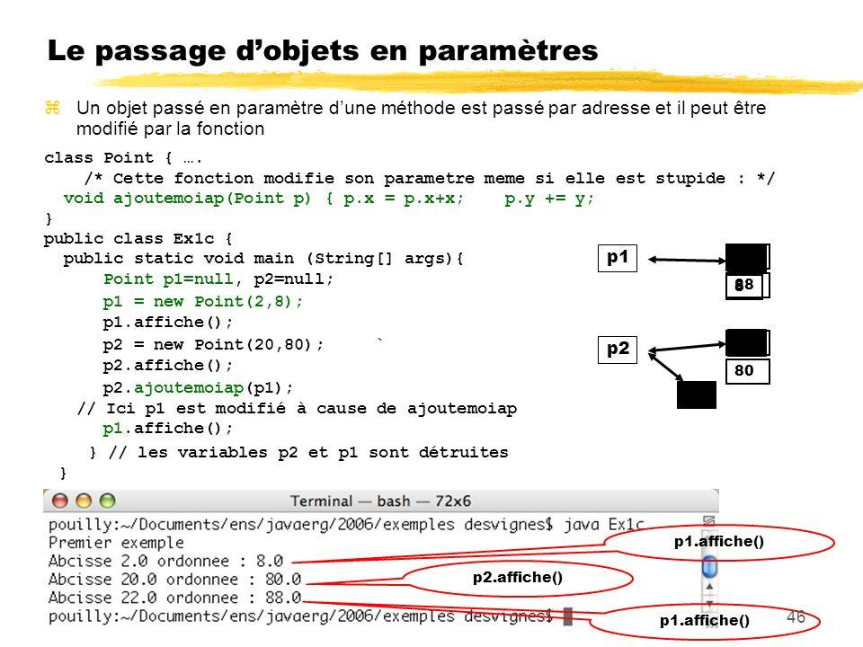 Le passage dobjets en paramètres class Point { ….