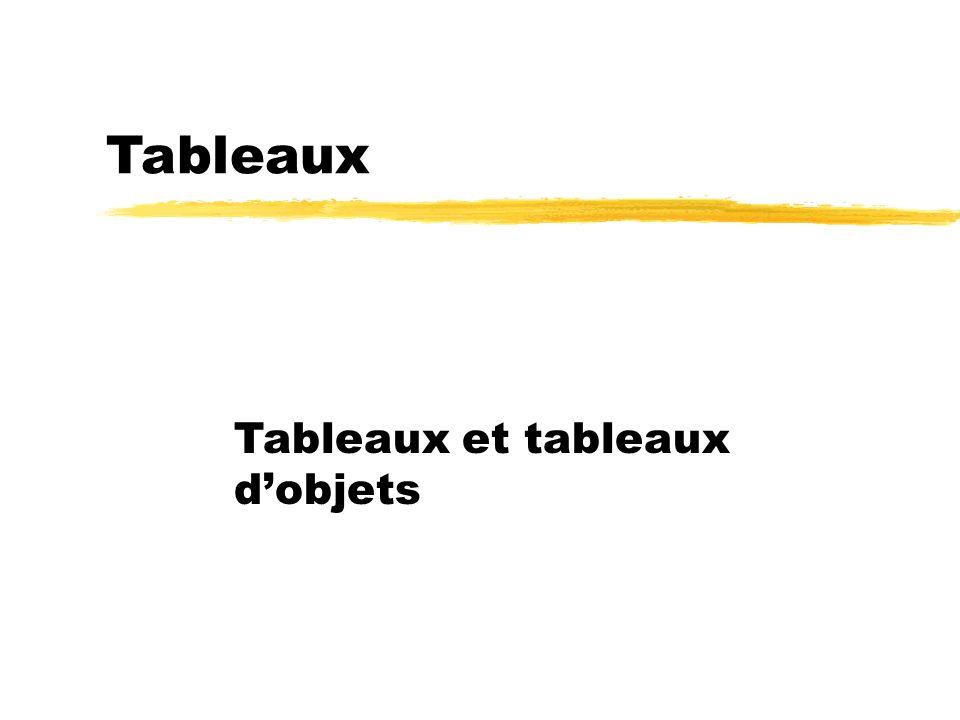 Tableaux Tableaux et tableaux dobjets