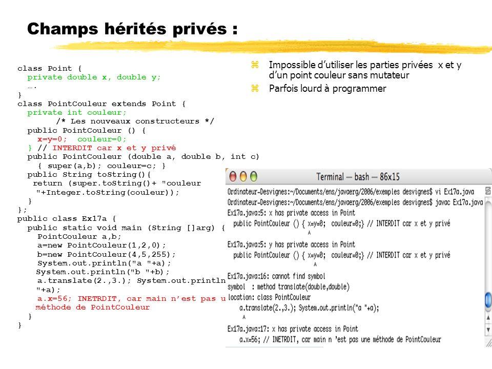 Champs hérités privés : class Point { private double x, double y; ….
