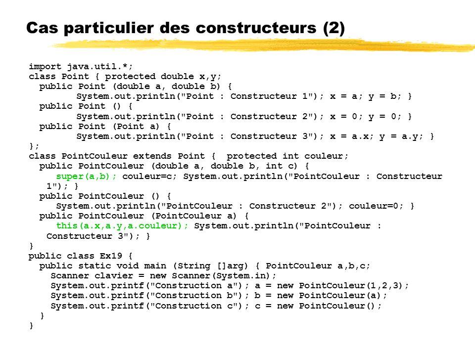 Cas particulier des constructeurs (2) import java.util.*; class Point { protected double x,y; public Point (double a, double b) { System.out.println( Point : Constructeur 1 ); x = a; y = b; } public Point () { System.out.println( Point : Constructeur 2 ); x = 0; y = 0; } public Point (Point a) { System.out.println( Point : Constructeur 3 ); x = a.x; y = a.y; } }; class PointCouleur extends Point { protected int couleur; public PointCouleur (double a, double b, int c) { super(a,b); couleur=c; System.out.println( PointCouleur : Constructeur 1 ); } public PointCouleur () { System.out.println( PointCouleur : Constructeur 2 ); couleur=0; } public PointCouleur (PointCouleur a) { this(a.x,a.y,a.couleur); System.out.println( PointCouleur : Constructeur 3 ); } } public class Ex19 { public static void main (String []arg) { PointCouleur a,b,c; Scanner clavier = new Scanner(System.in); System.out.printf( Construction a ); a = new PointCouleur(1,2,3); System.out.printf( Construction b ); b = new PointCouleur(a); System.out.printf( Construction c ); c = new PointCouleur(); }