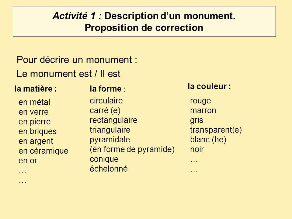 Activité 1 : Description dun monument.