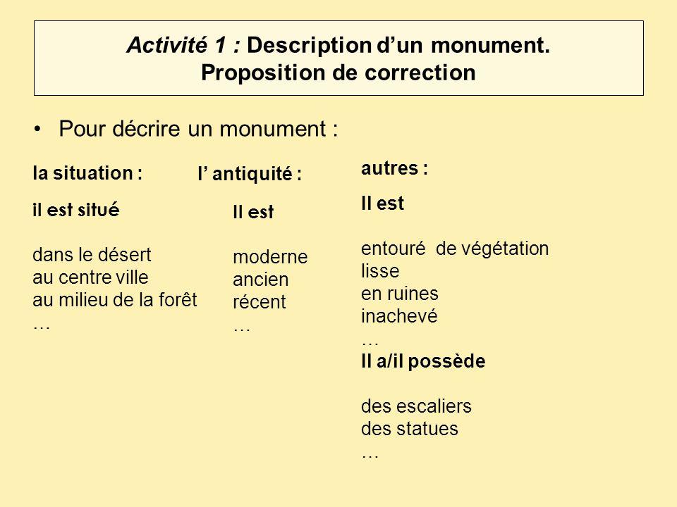 Activité 1C : Description dun monument.Vous pouvez aussi dire la fonction ou le type de monument.