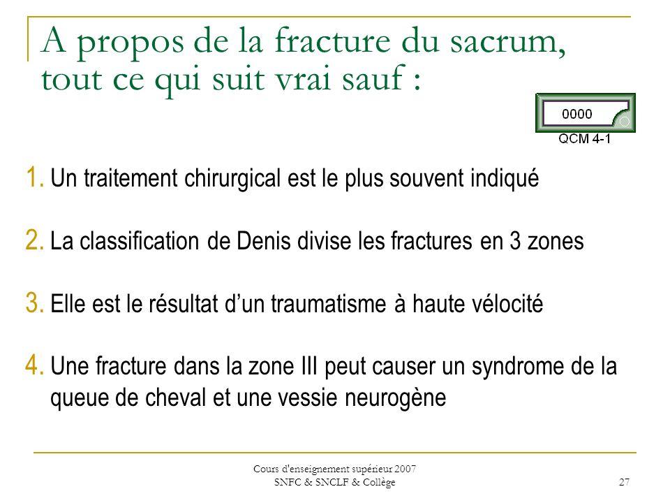 Cours d'enseignement supérieur 2007 SNFC & SNCLF & Collège 27 A propos de la fracture du sacrum, tout ce qui suit vrai sauf : 1. Un traitement chirurg