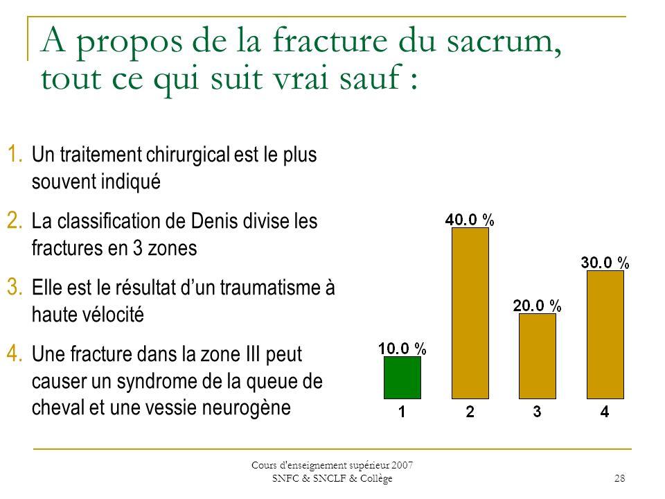 Cours d'enseignement supérieur 2007 SNFC & SNCLF & Collège 28 A propos de la fracture du sacrum, tout ce qui suit vrai sauf : 1. Un traitement chirurg