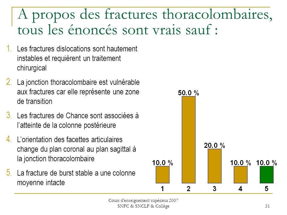 Cours d'enseignement supérieur 2007 SNFC & SNCLF & Collège 31 A propos des fractures thoracolombaires, tous les énoncés sont vrais sauf : 1. Les fract