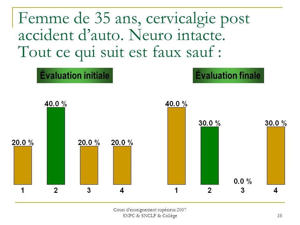 Cours d'enseignement supérieur 2007 SNFC & SNCLF & Collège 38 Femme de 35 ans, cervicalgie post accident dauto. Neuro intacte. Tout ce qui suit est fa