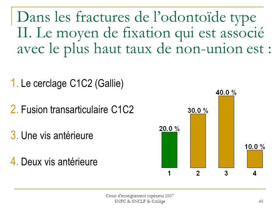 Cours d'enseignement supérieur 2007 SNFC & SNCLF & Collège 40 Dans les fractures de lodontoïde type II. Le moyen de fixation qui est associé avec le p