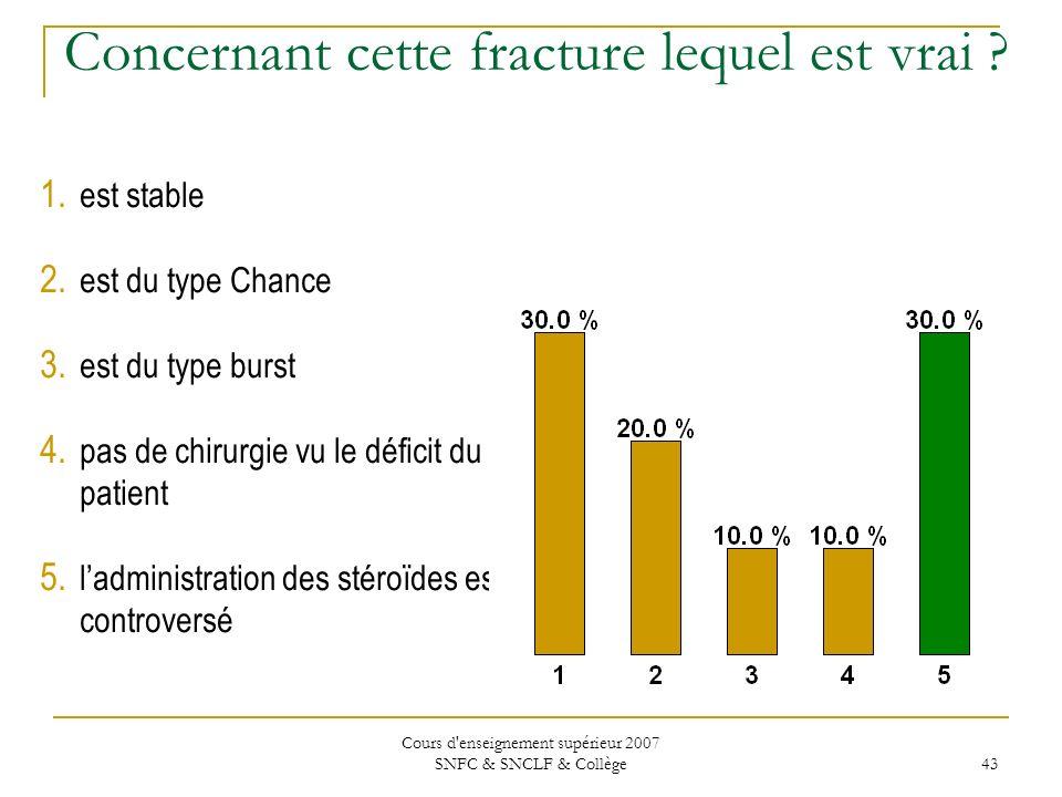 Cours d'enseignement supérieur 2007 SNFC & SNCLF & Collège 43 Concernant cette fracture lequel est vrai ? 1. est stable 2. est du type Chance 3. est d