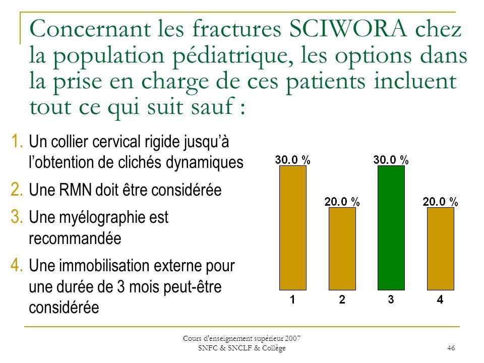Cours d'enseignement supérieur 2007 SNFC & SNCLF & Collège 46 Concernant les fractures SCIWORA chez la population pédiatrique, les options dans la pri