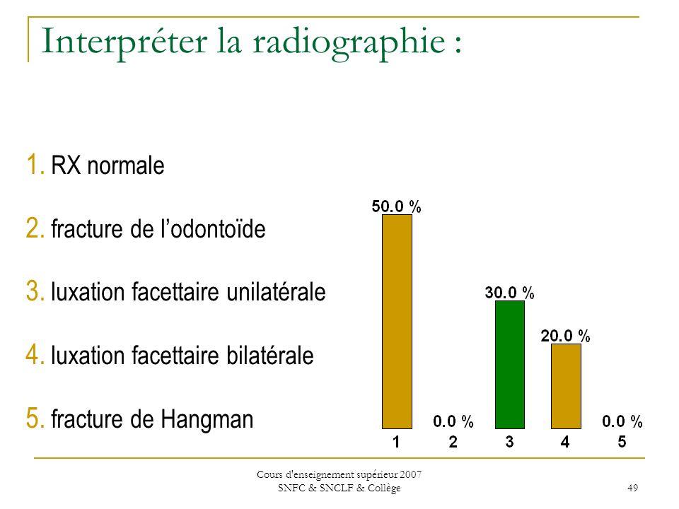 Cours d'enseignement supérieur 2007 SNFC & SNCLF & Collège 49 Interpréter la radiographie : 1. RX normale 2. fracture de lodontoïde 3. luxation facett