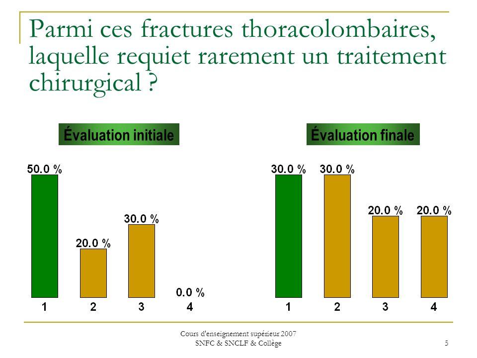 Cours d enseignement supérieur 2007 SNFC & SNCLF & Collège 46 Concernant les fractures SCIWORA chez la population pédiatrique, les options dans la prise en charge de ces patients incluent tout ce qui suit sauf : 1.