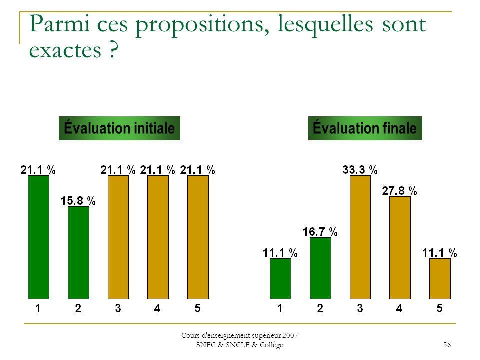 Cours d'enseignement supérieur 2007 SNFC & SNCLF & Collège 56 Parmi ces propositions, lesquelles sont exactes ? Évaluation initialeÉvaluation finale
