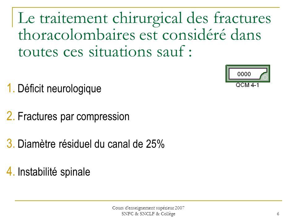 Cours d enseignement supérieur 2007 SNFC & SNCLF & Collège 47 Concernant les fractures SCIWORA chez la population pédiatrique, les options dans la prise en charge de ces patients incluent tout ce qui suit sauf : Évaluation initialeÉvaluation finale