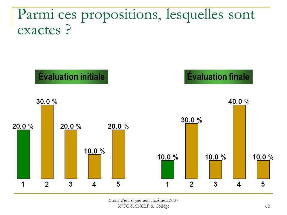 Cours d'enseignement supérieur 2007 SNFC & SNCLF & Collège 62 Parmi ces propositions, lesquelles sont exactes ? Évaluation initialeÉvaluation finale