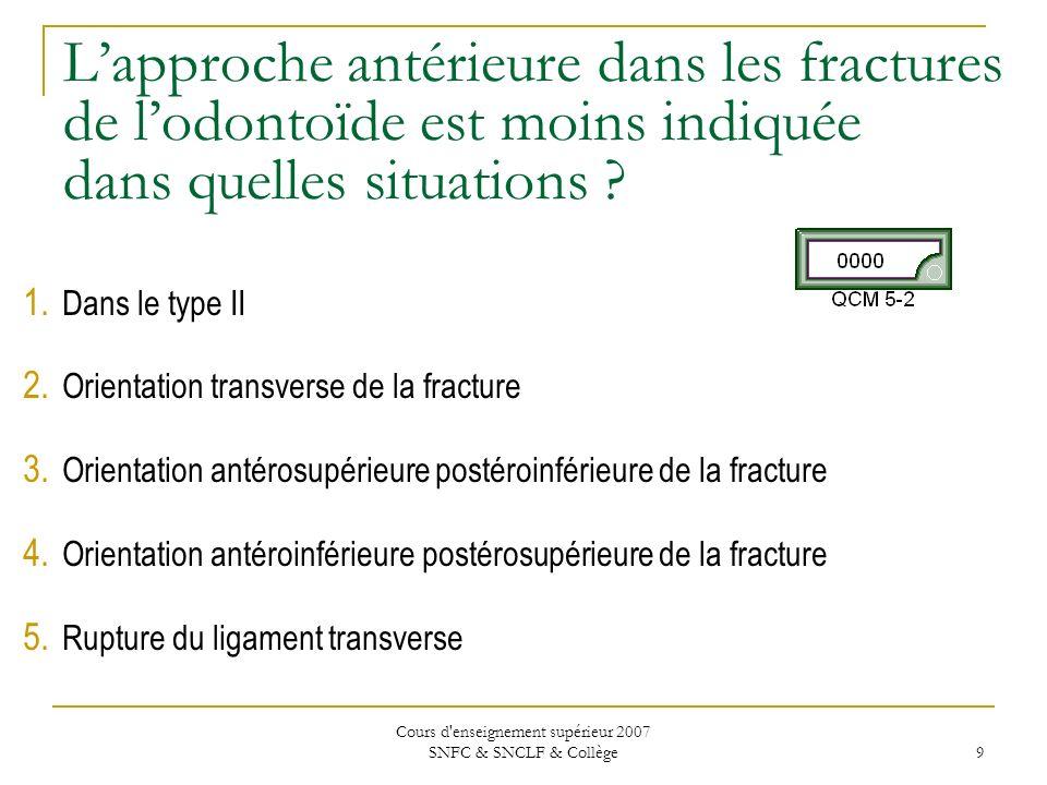 Cours d'enseignement supérieur 2007 SNFC & SNCLF & Collège 9 Lapproche antérieure dans les fractures de lodontoïde est moins indiquée dans quelles sit