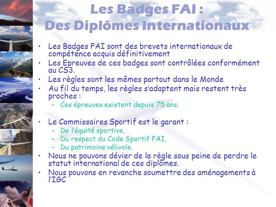 Les Badges FAI : Des Diplômes Internationaux Les Badges FAI sont des brevets internationaux de compétence acquis définitivement Les Epreuves de ces ba