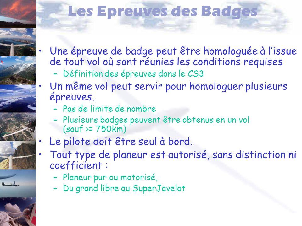 Les Epreuves des Badges Une épreuve de badge peut être homologuée à lissue de tout vol où sont réunies les conditions requises –Définition des épreuve