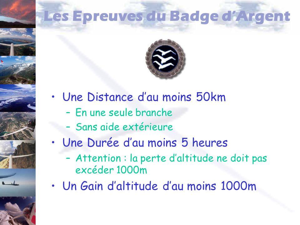 Les Epreuves du Badge dArgent Une Distance dau moins 50km –En une seule branche –Sans aide extérieure Une Durée dau moins 5 heures –Attention : la per