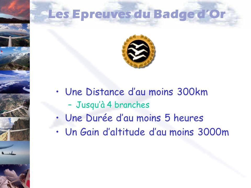 Les Epreuves du Badge dOr Une Distance dau moins 300km –Jusquà 4 branches Une Durée dau moins 5 heures Un Gain daltitude dau moins 3000m