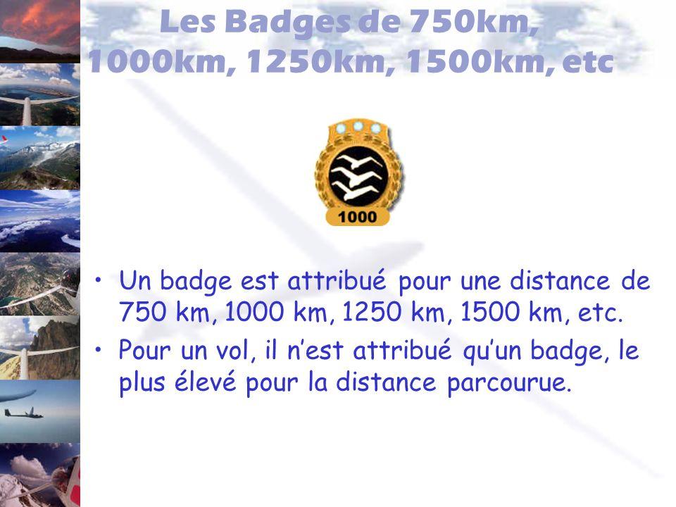 Les Badges de 750km, 1000km, 1250km, 1500km, etc Un badge est attribué pour une distance de 750 km, 1000 km, 1250 km, 1500 km, etc. Pour un vol, il ne
