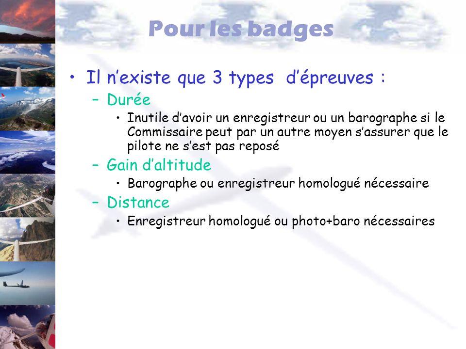 Pour les badges Il nexiste que 3 types dépreuves : –Durée Inutile davoir un enregistreur ou un barographe si le Commissaire peut par un autre moyen sa
