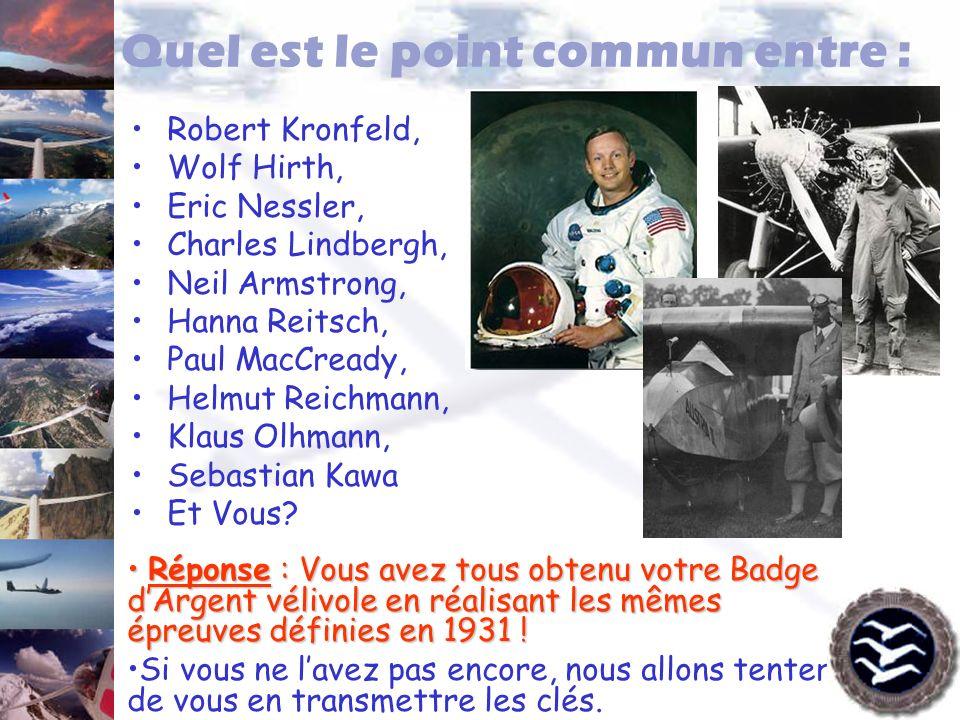 Quel est le point commun entre : Robert Kronfeld, Wolf Hirth, Eric Nessler, Charles Lindbergh, Neil Armstrong, Hanna Reitsch, Paul MacCready, Helmut R