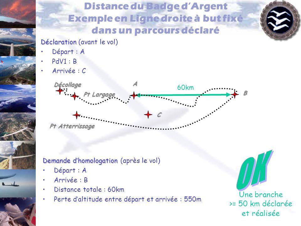 Distance du Badge dArgent Exemple en Ligne droite à but fixé dans un parcours déclaré Déclaration Déclaration (avant le vol) Départ : A PdV1 : B Arriv