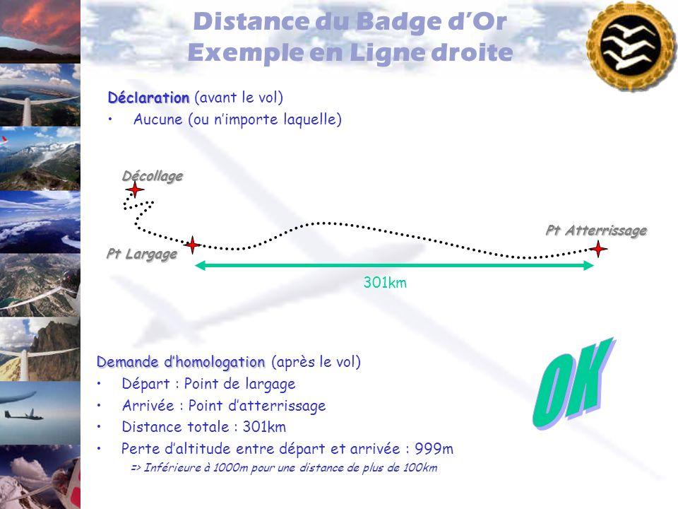 Distance du Badge dOr Exemple en Ligne droite Déclaration Déclaration (avant le vol) Aucune (ou nimporte laquelle) Pt Largage Pt Atterrissage Décollag
