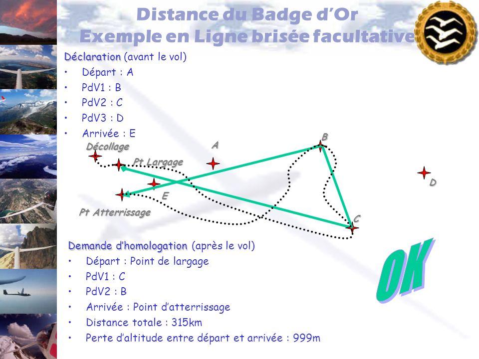 Distance du Badge dOr Exemple en Ligne brisée facultative Déclaration Déclaration (avant le vol) Départ : A PdV1 : B PdV2 : C PdV3 : D Arrivée : E Pt