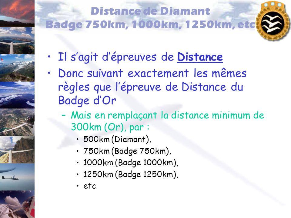 Distance de Diamant Badge 750km, 1000km, 1250km, etc Il sagit dépreuves de Distance Donc suivant exactement les mêmes règles que lépreuve de Distance