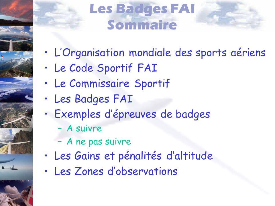 Les Badges FAI Sommaire LOrganisation mondiale des sports aériens Le Code Sportif FAI Le Commissaire Sportif Les Badges FAI Exemples dépreuves de badg